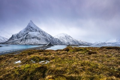 Mountain Norway road and scenic landscape of Lofoten islands.