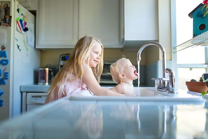 Big Sisters are Big Help by Chrissywphoto - Kids And Water Photo Contest