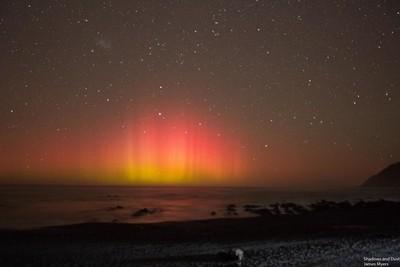 The Aurora Australis from near Red Rocks near Wellington New Zealand