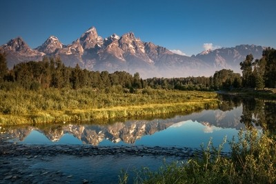 Viewing the Teton Snowcapped Peaks from Schwabacher Landing