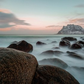 Shot at Uttakleiv beach, Lofoten Norway. Using Lee Big Stopper for increased exposure time.