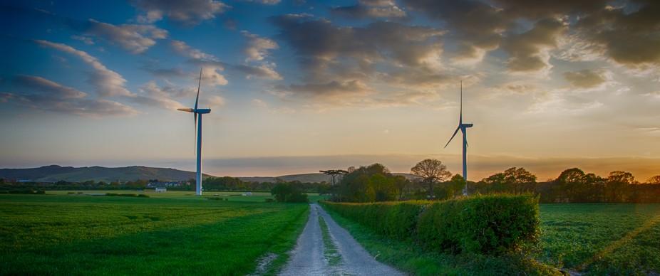 wind turbines Polegate at sunset