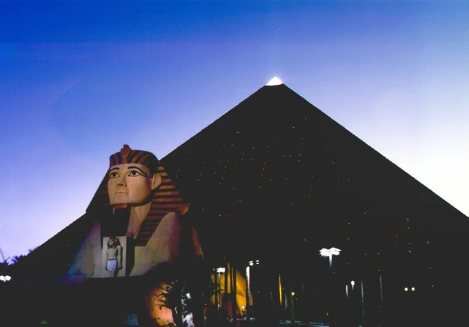 Another night shot of the Luxor Hotel. Shot with RB67.