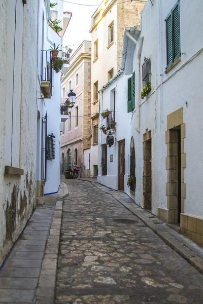 Narrow Street in Sitges, Spain