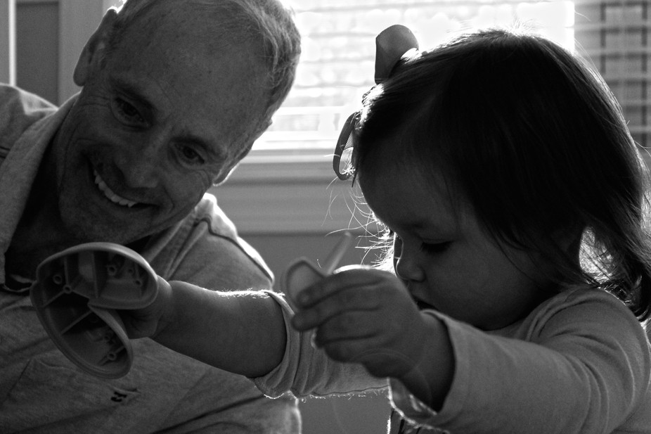 My step-father with his granddaughter