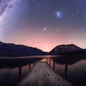 Faint aurora as seen from Lake Rotoiti, New Zealand