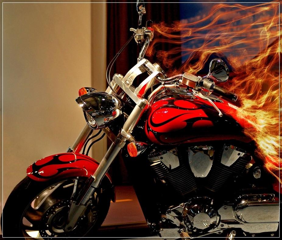 fiery motorcycle