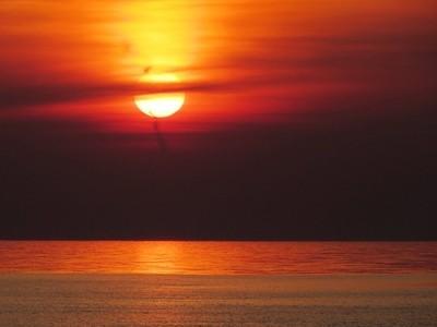 Bright sunset over the Gulf of Finland. Saint-Petersburg, Sestroretsky resort.