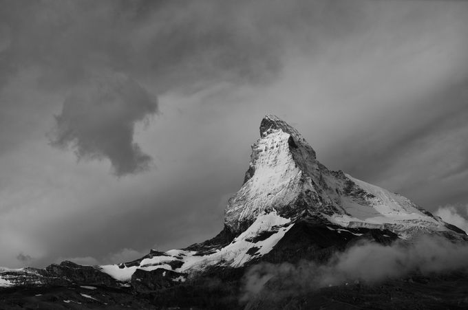 Matterhorn and Clouds by FJWalker - Black And White Mountain Peaks Photo Contest