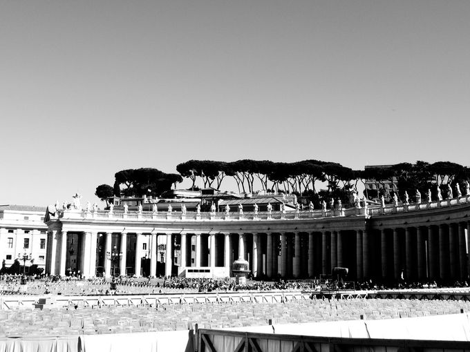 A view of St. Peter's Square and trying a black and white look.