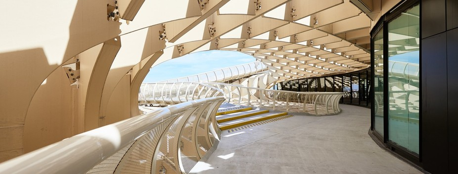 The entryway to the catwalk on top of the extremely unique Metropol Parasol in Seville, Spain.