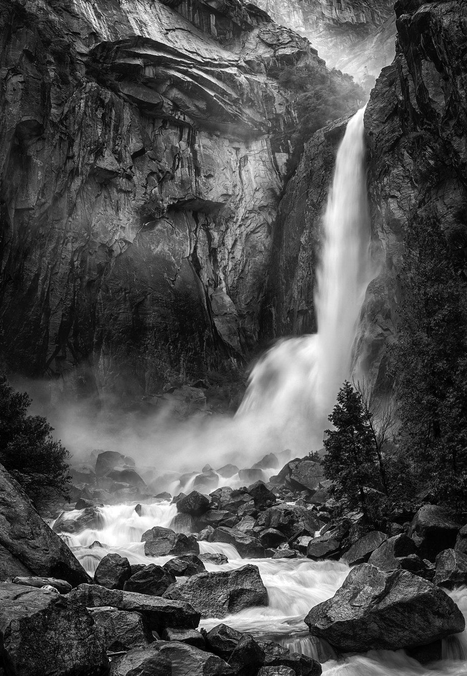 Lower Yosemite Falls by DJLee - The Water In Black And White Photo Contest