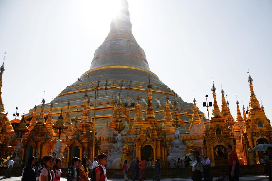 """They call this country """"The Golden Land,"""" looking around at Shwe Dagon Pagoda, ..."""