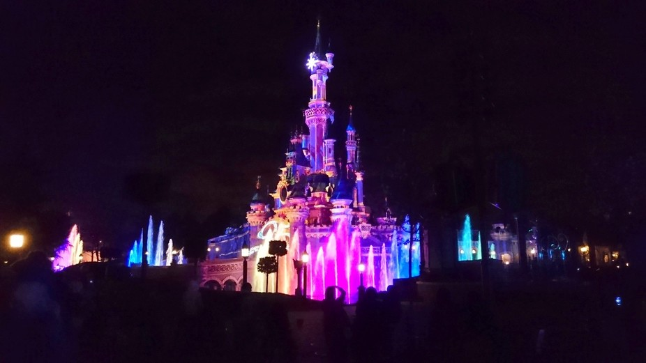 Sleeping Beauty Castle just after Disney Illuminations Show