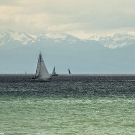 Lake Bodensee in Germany, with the Alps in background