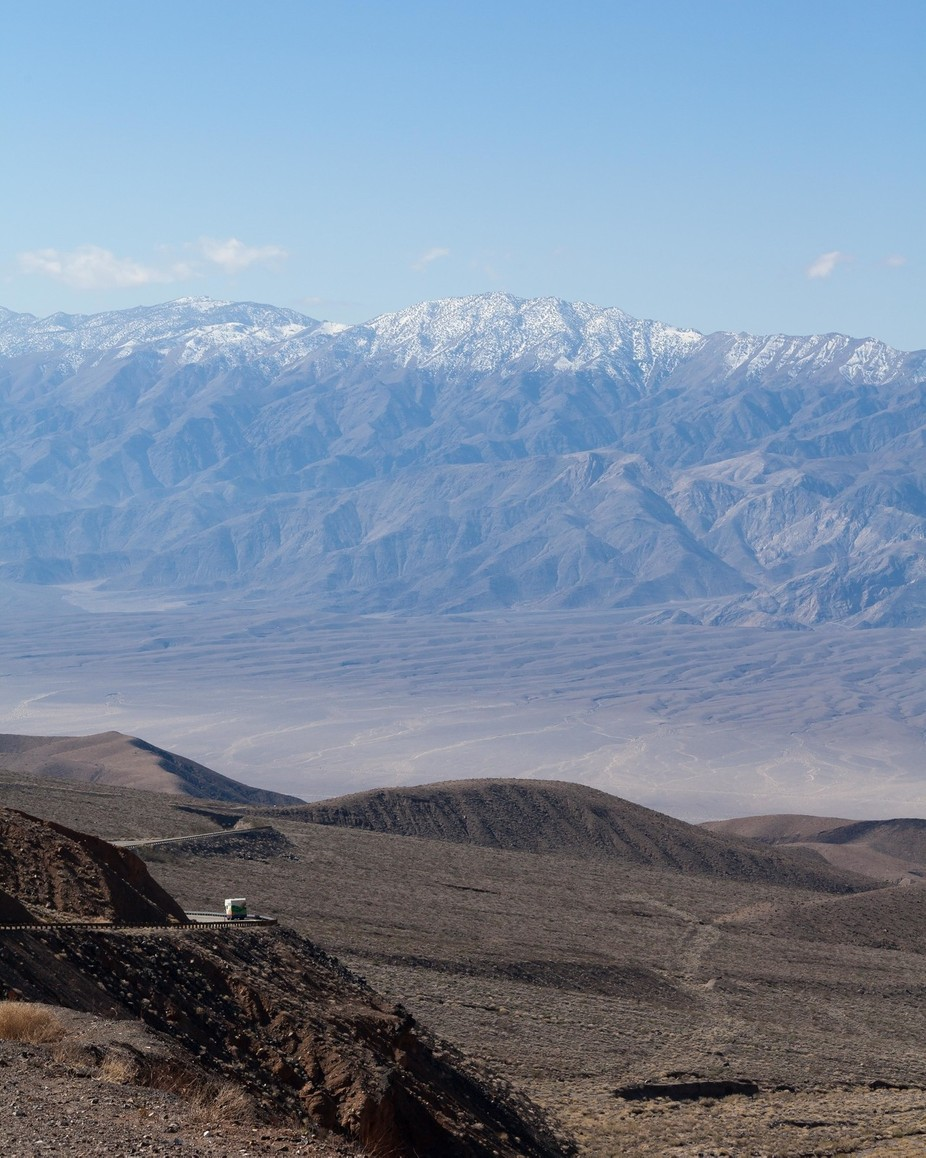 Coming up out of Death Valley, the sheer beauty is only matched by the next valley, Panamint Valley, and the Mountains beyond.  The eastern Sierra Nevadas are in the distance, towering with snow capped peaks.