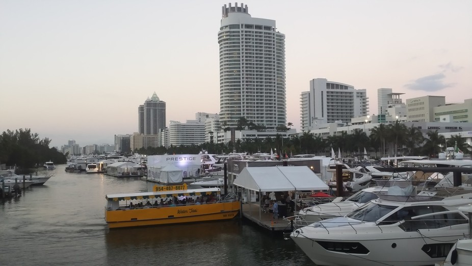 This was taken on Miami Beach during the Yachts Miami show at sunset.
