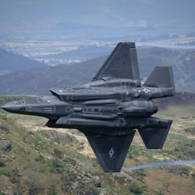F35 Lightning's in the Mach Loop for the first time.
