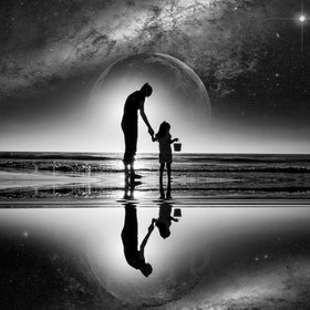 Sirreal, Mother an daughter walking on the beach full moon looking ahead to her future