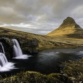 Foss with Kirkjufell mountain Iceland