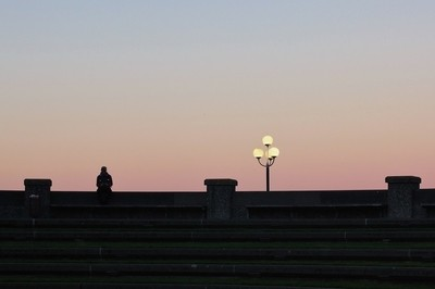 Lamp, evening, Wellington Harbour 2