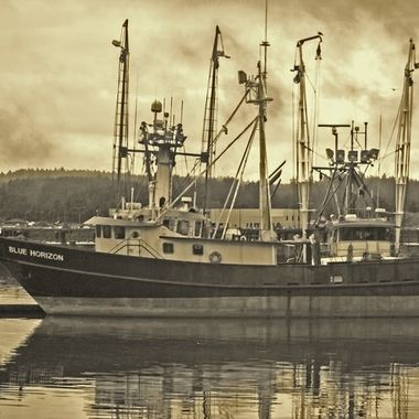 Fishing boat in the Newport harbor in Oregon.