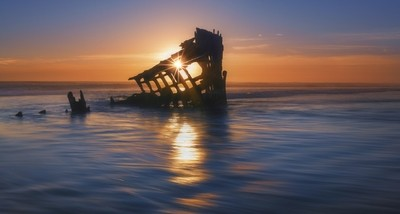 The Peter Iredale Shipwreck at Sunset