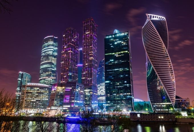 Moscow business center II by Akses - Color In The Night Photo Contest