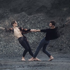 This photo is promoting a dance performance called Dust choreographed by Isadora Snapp. If you feel so inclined you may contribute to the product...