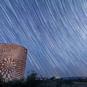 Star trails captured at Arcosanti in Arizona.  The Perseid Meteor Shower was also in full effect ((you can see the shooting stars faintly across ...