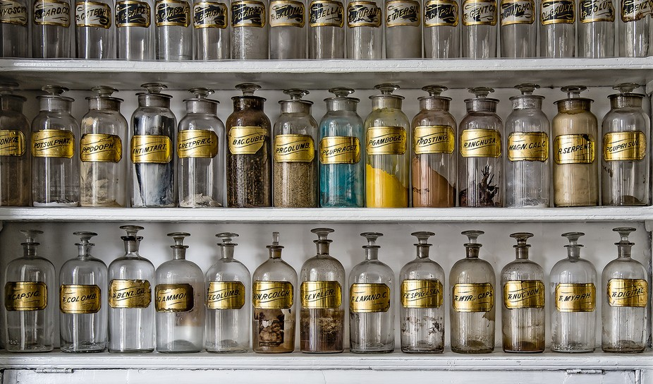 The image was shot with natural lighting at an old drug store.