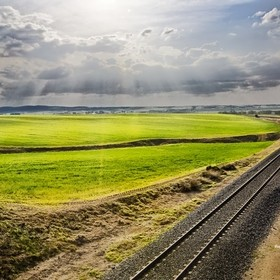 Fields of Castilla, Spain.  Railroad