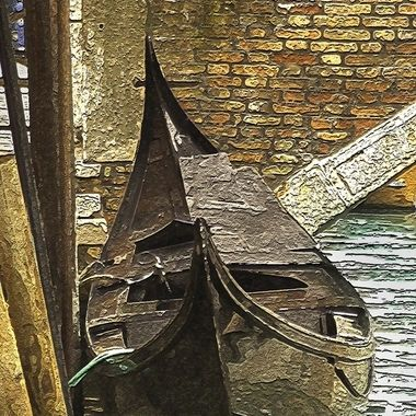 Artistic rendering of a lone gondola moored to the dockside on a cool fall day in Venice. No trip to Italy is complete without seeing Venice and her gondolas, this one is just waiting to take you on an adventure.