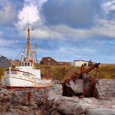 Boat and anchor in Keflavik.