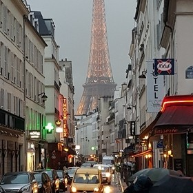 While wandering Paris on a drizzly evening I stumbled across this view of the Eiffel Tower. I consider myself fortunate to have all these conditi...