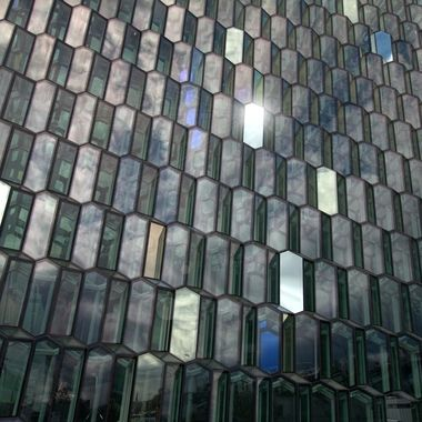 Glass of the Harpa Concert Hall, in Reykjavik Iceland.