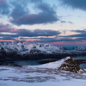 Such a spectacular view from the top of Ryten (Lofoten, Arctic Norway). This photo was taken after sunset (which was opposite to this photo), jus...