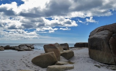 Rocks, sea and clouds