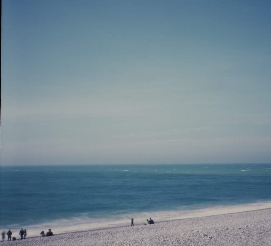 Shot on the beach of Fecamp, Normandy, France. Pinhole shot with a diana F+. Approx 2sec exposure...