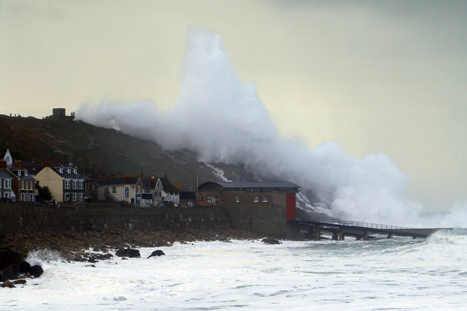 Stormy Seas Hitting Sennen Cove in Cornwall, UK, during Storm Imogen in 2016