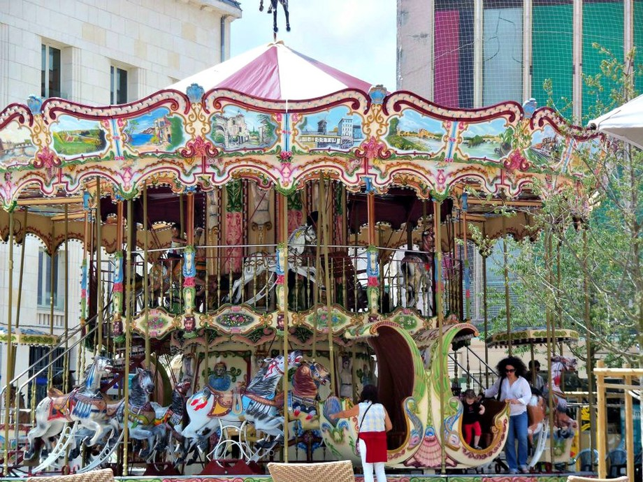 Vintage Carousel in Poitiers, France