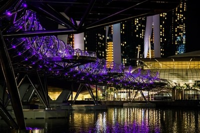 Singapore DNA Inspired Helix Bridge Illuminated at Night