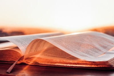 Holy book during sunset