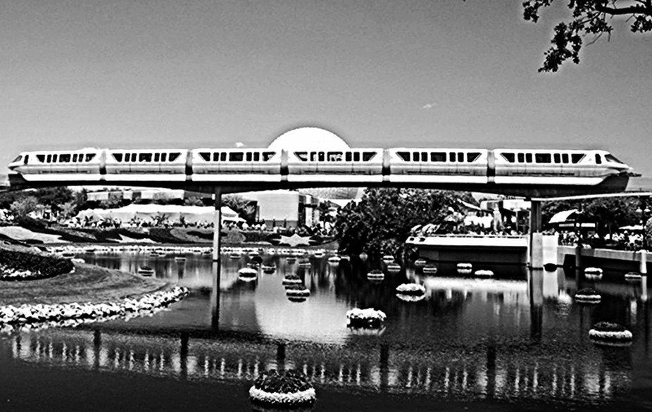 Disney Monorail at Epcot  B&W