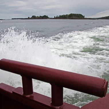 The view from the stern of the Deer Island ferry.
