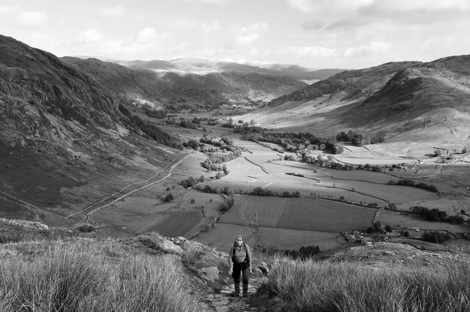 Langdale from trail to Crinkle Crags