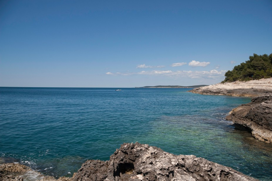 Beautiful blue and green sea from Kamenjak in Croatia. Summer shot that is inviting everyone to t...