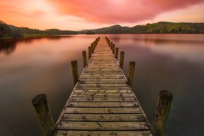 Sunset at coniston jetty