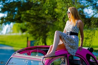 A girl and her car