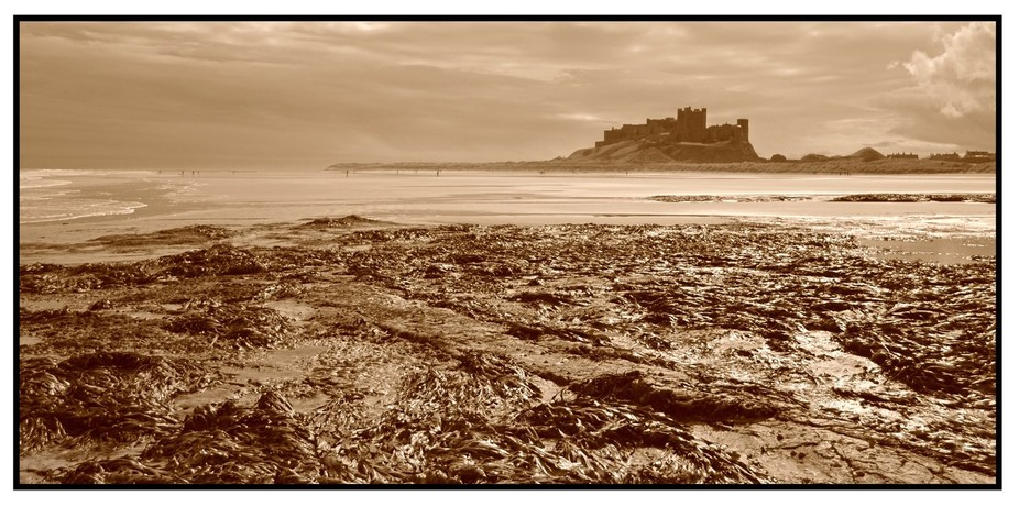View of Bamburgh Castle, Northumberland,U.K.  From north bay. Tried to make this image look old w...